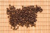 coffee beans with bamboo curtain poster