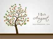 Tree with national tricolors leaves on grey background for 15th of August, Indian Independence Day celebrations.  poster