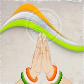 Poster, banner or flyer with national tricolors wave, Asoka wheel and lady hands in Indian gesturing Namaste on grungy grey background for 15th of August, Indian Independence Day celebrations.  poster