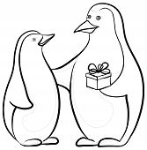 Antarctic black and white emperor penguins with a festive gift box, contours. Vector poster