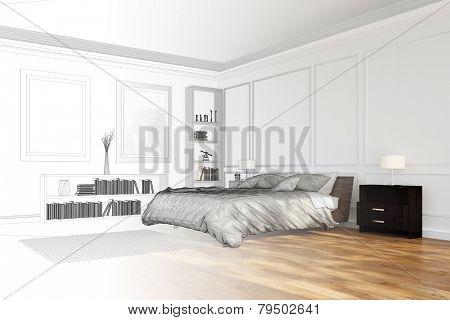 Room planning for bedroom with CAD wireframe mesh and render (3D Rendering)
