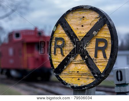 Old Wooden Railroad Rr Sign With Caboose