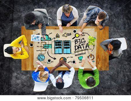 Diversity Business People Big Data Management Brainstorming Concept poster