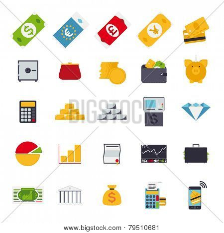 Set of 25 money and finance related vector icons, flat design