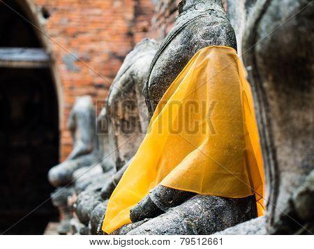 Old Buddha Statue At Wat Chai Watthanaram