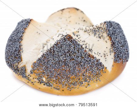 Pretzel Roll With Poppyseed (over White)