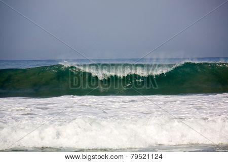 Wave Breaking At Zicatela Mexican Pipeline Puerto Escondido Mexico