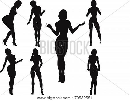 Silhouettes of women with curvaceous and erotic poses-vector 10 EPS