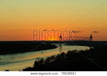 Train Bridge Over Cape Cod Canal At Sunset