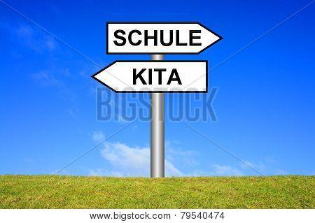Sign showing school or kindergarden