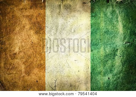 flag of Ivory Coast. Old vintage paper texture. poster
