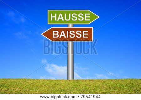 Sign showing hausse or baisse
