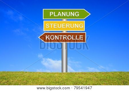 Sign showing planning control performance