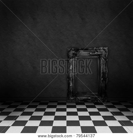 Empty, dark, psychedelic room with black and white checker on the floor and empty black frame. Nightmare or dream, museum scene or art gallery. poster