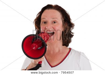 Woman With Bullhorn