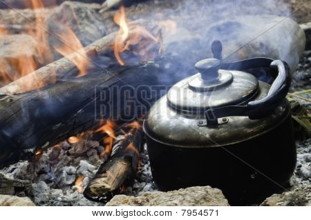 Kettle on a camp-fire