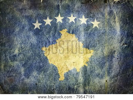 flag of Kosovo. Old vintage paper texture. poster