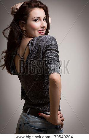 Playful Model Showing Tongue Medium Shot Gradient Background