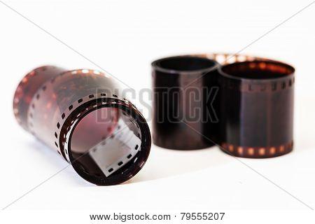 Photographic Film. Film Reel On White.