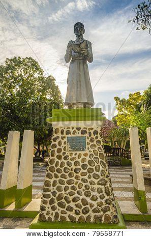 RURRENABAQUE, BOLIVIA, MAY 13, 2014: Statue of Luis Fernando Pellicioli, founder of