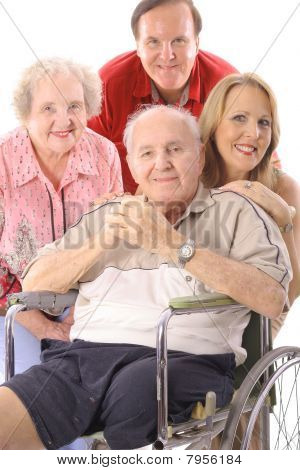 Family with handicap father vertical upclose
