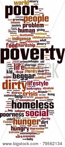 Poverty word cloud concept. Vector illustration isolated on white poster
