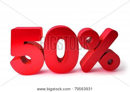 50% 3D Render Red Word Isolated in White Background