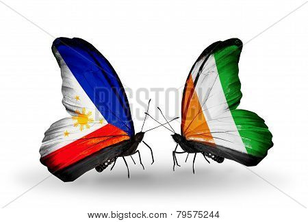 Two Butterflies With Flags On Wings As Symbol Of Relations Philippines And Cote Divoire