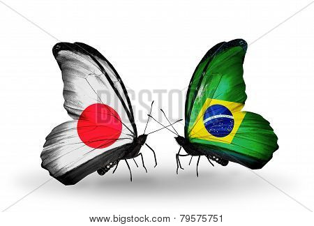 Two Butterflies With Flags On Wings As Symbol Of Relations Japan And Brazil