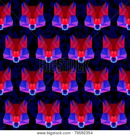 Abstract Geometric Polygonal Wolf Seamless Pattern
