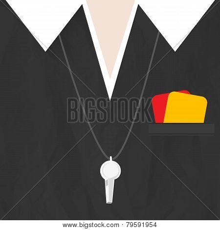 Soccer referee with cards and whistle