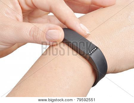 Activity tracker on a woman's wrist
