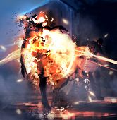 Fantasy art illustration of zombies exploding and dying in fire. poster