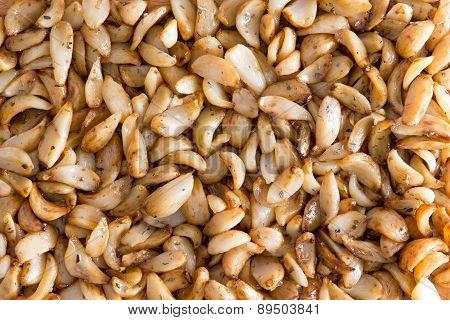 Background Of Marinated Roasted Garlic Cloves