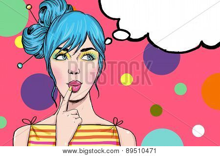 Pop Art illustration of girl with the speech bubble.Pop Art girl. Party invitation.