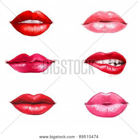 Lips set isolated on white background. design element.Red lips.Lips background.