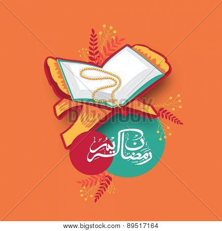 Open Islamic holy book Quran Shareef with rosary and arabic calligraphy of text Ramazan Kareem (Ramadan Kareem) on orange background for Muslim community festival celebration.