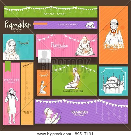 Social media ads, header or banner set with Islamic elements for holy month of Muslim community, Ramadan Kareem celebration. poster