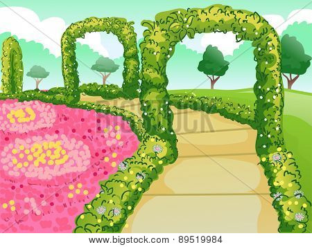 Illustration of a Botanical Garden with a Path Lined with Flowers and Hedges