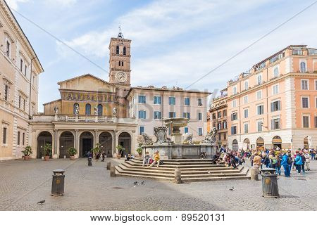 The Basilica Of Our Lady Of Trastevere In Rome, Italy