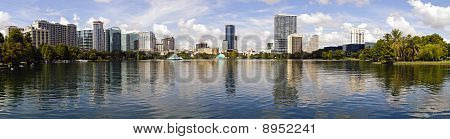Panoramic created from multiple images of Orlando Florida skyline as seen from Lake Eola Park poster