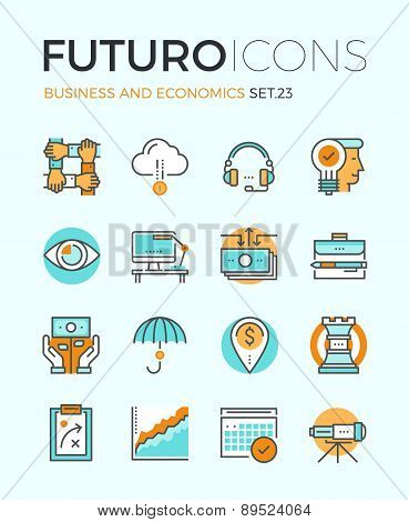 Line icons with flat design elements of corporate business economics global market strategy vision partnership teamwork organization. Modern infographic vector logo pictogram collection concept. poster