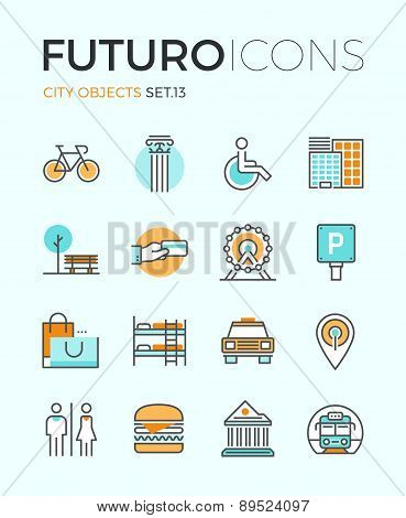 City Objects Futuro Line Icons