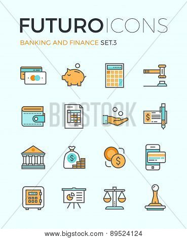 Banking And Finance Futuro Line Icons