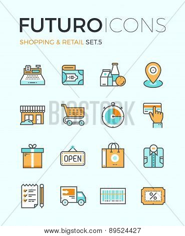 Shopping And Retail Futuro Line Icons