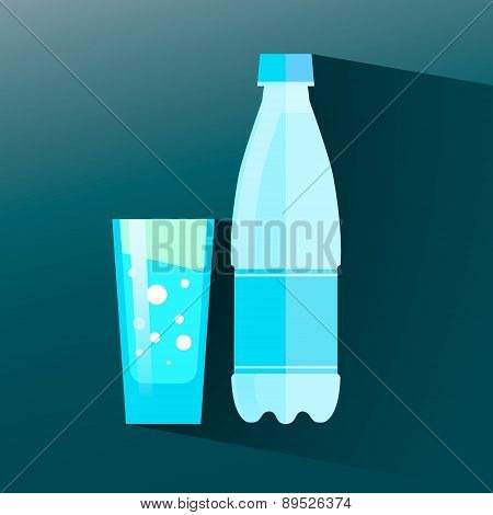 Glass of water and bottle icon. Flat icon with long shadow. Vector illustration