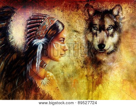 Young Indian Woman Wearing  With  Wolf And Feather Headdress, Painting  Collage .