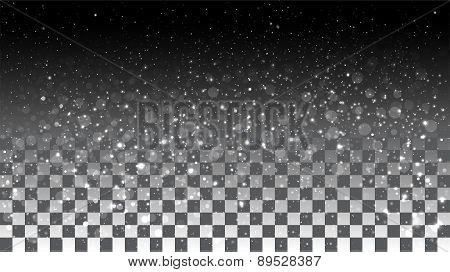 Falling snow on a transparent background