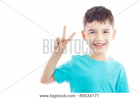 Kid Shows Victory Sign