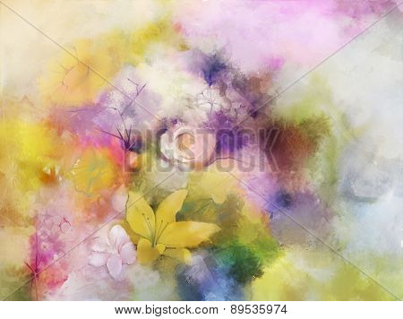 Vintage flowers painting.Flowers in soft color for background